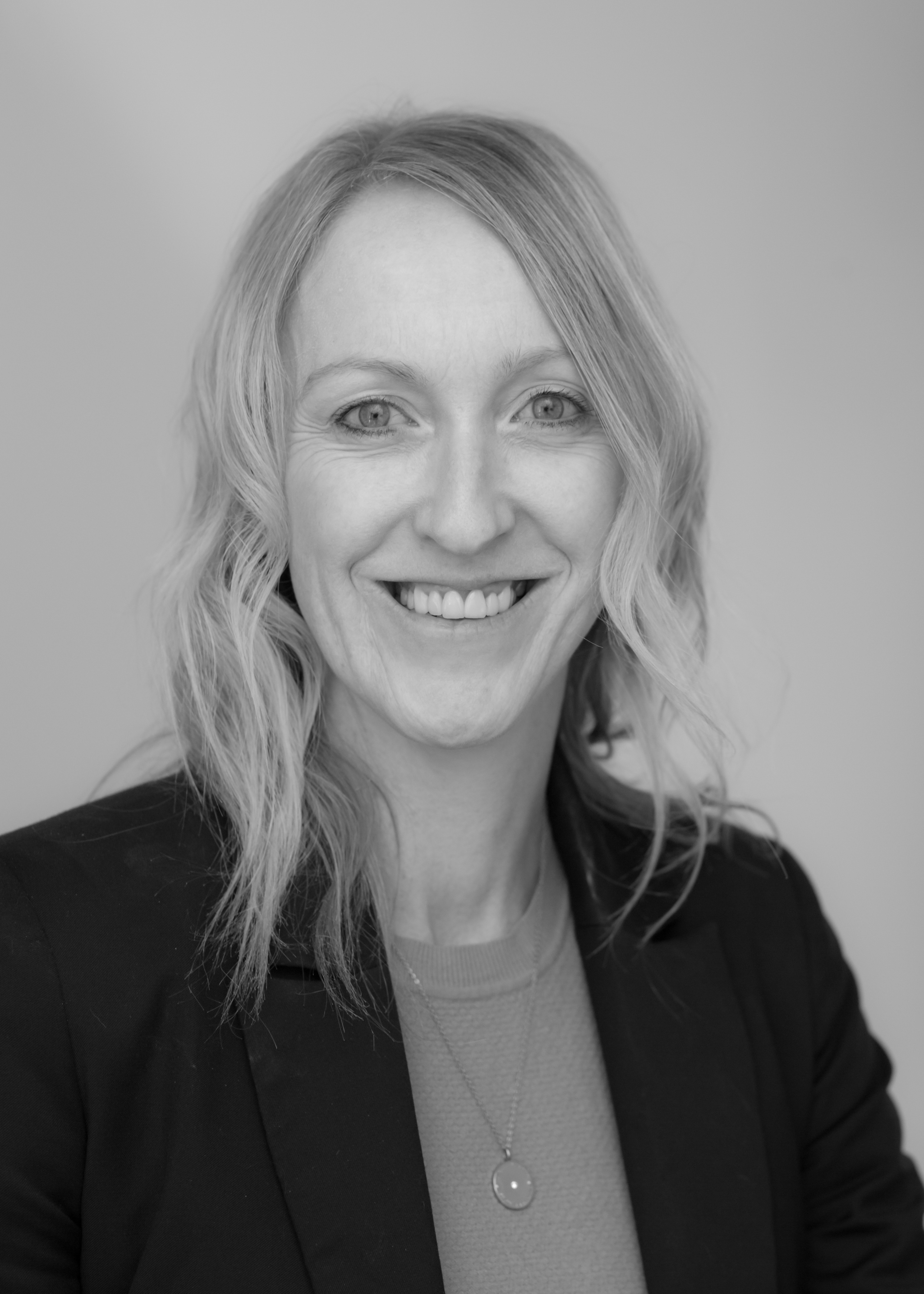 A black and white image of Jo McCully, Financial Services Administration Assistant at Ethical Investment Services.